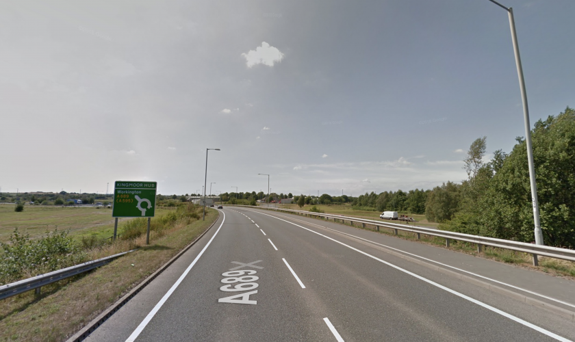 Remain on the A689. At the Kingmoor hub roundabout, take the 2nd exit signed for Workington (A689).